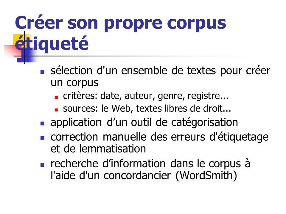Créer son propre corpus étiqueté sélection d'un ensemble de textes pour créer un corpus critères: date, auteur, genre, registre... sources: le Web, te