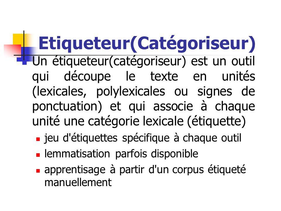 Etiqueteur(Catégoriseur) Un étiqueteur(catégoriseur) est un outil qui découpe le texte en unités (lexicales, polylexicales ou signes de ponctuation) e