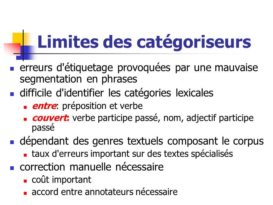 Limites des catégoriseurs erreurs d'étiquetage provoquées par une mauvaise segmentation en phrases difficile d'identifier les catégories lexicales ent