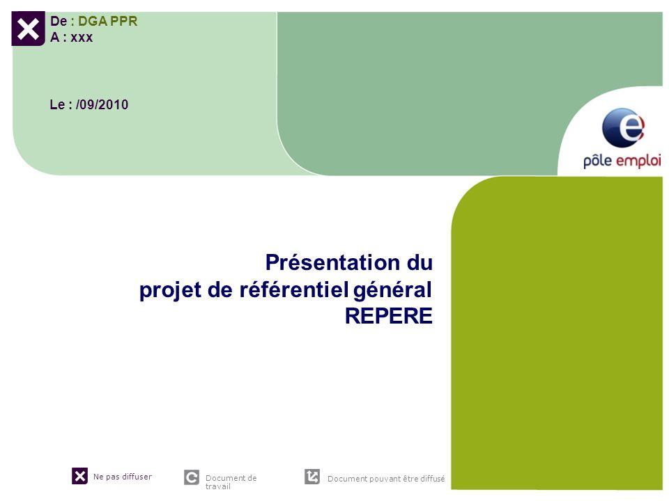 Ne pas diffuser Document de travail Document pouvant être diffusé De : DGA PPR A : xxx Le : /09/2010 Présentation du projet de référentiel général REP