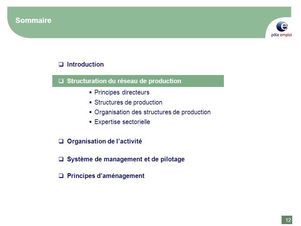 12 Sommaire Introduction Structuration du réseau de production Organisation de lactivité Principes directeurs Structures de production Organisation de
