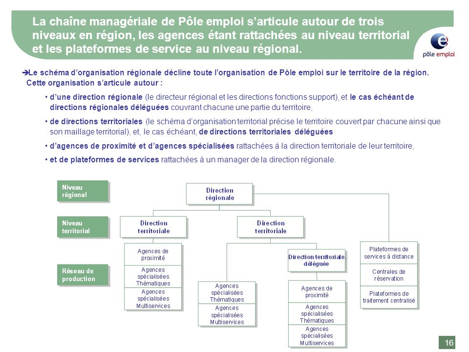 16 La chaîne managériale de Pôle emploi sarticule autour de trois niveaux en région, les agences étant rattachées au niveau territorial et les platefo