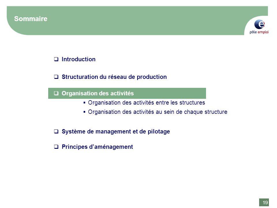 19 Sommaire Introduction Structuration du réseau de production Organisation des activités Organisation des activités entre les structures Organisation