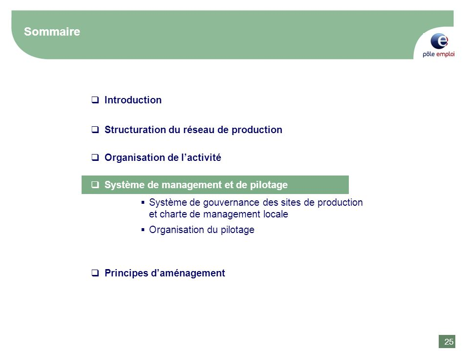 25 Sommaire Introduction Structuration du réseau de production Organisation de lactivité Système de gouvernance des sites de production et charte de m