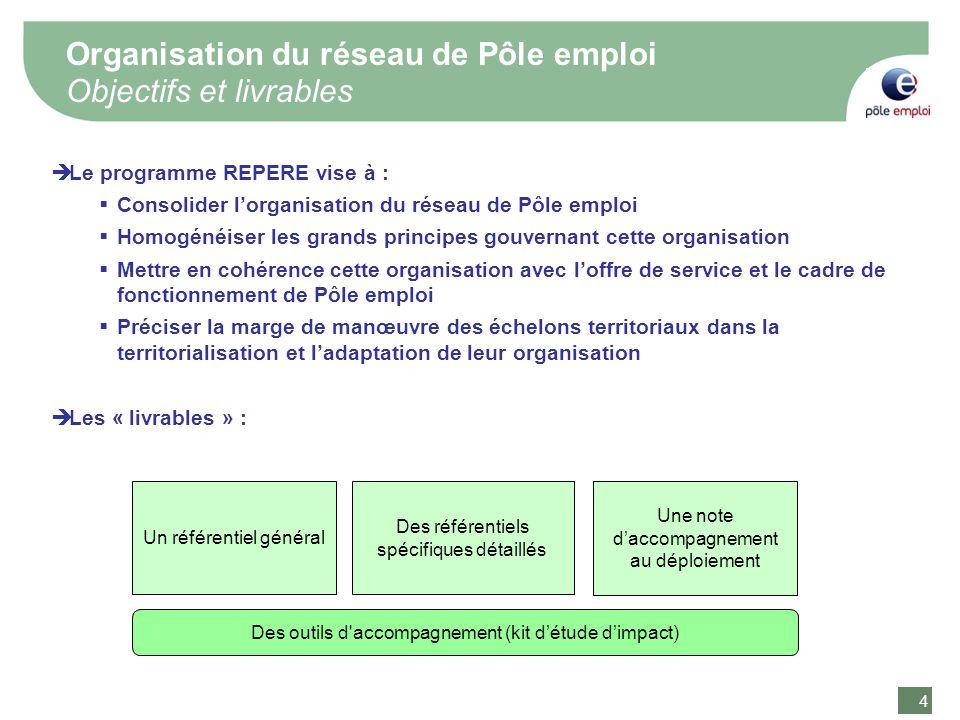 4 4 Le programme REPERE vise à : Consolider lorganisation du réseau de Pôle emploi Homogénéiser les grands principes gouvernant cette organisation Met
