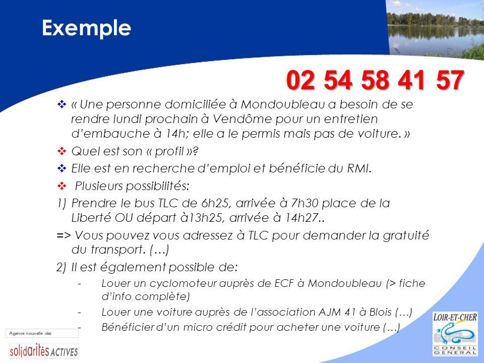 Exemple « Une personne domiciliée à Mondoubleau a besoin de se rendre lundi prochain à Vendôme pour un entretien dembauche à 14h; elle a le permis mai