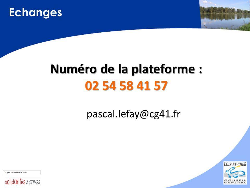 Echanges Numéro de la plateforme : 02 54 58 41 57 pascal.lefay@cg41.fr