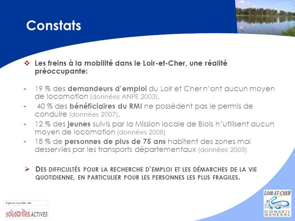 Constats Les freins à la mobilité dans le Loir-et-Cher, une réalité préoccupante: -19 % des demandeurs demploi du Loir et Cher nont aucun moyen de loc