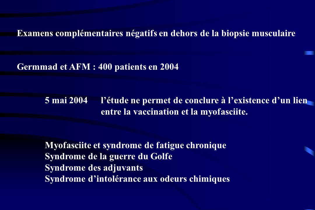 Examens complémentaires négatifs en dehors de la biopsie musculaire Germmad et AFM : 400 patients en 2004 5 mai 2004 létude ne permet de conclure à le