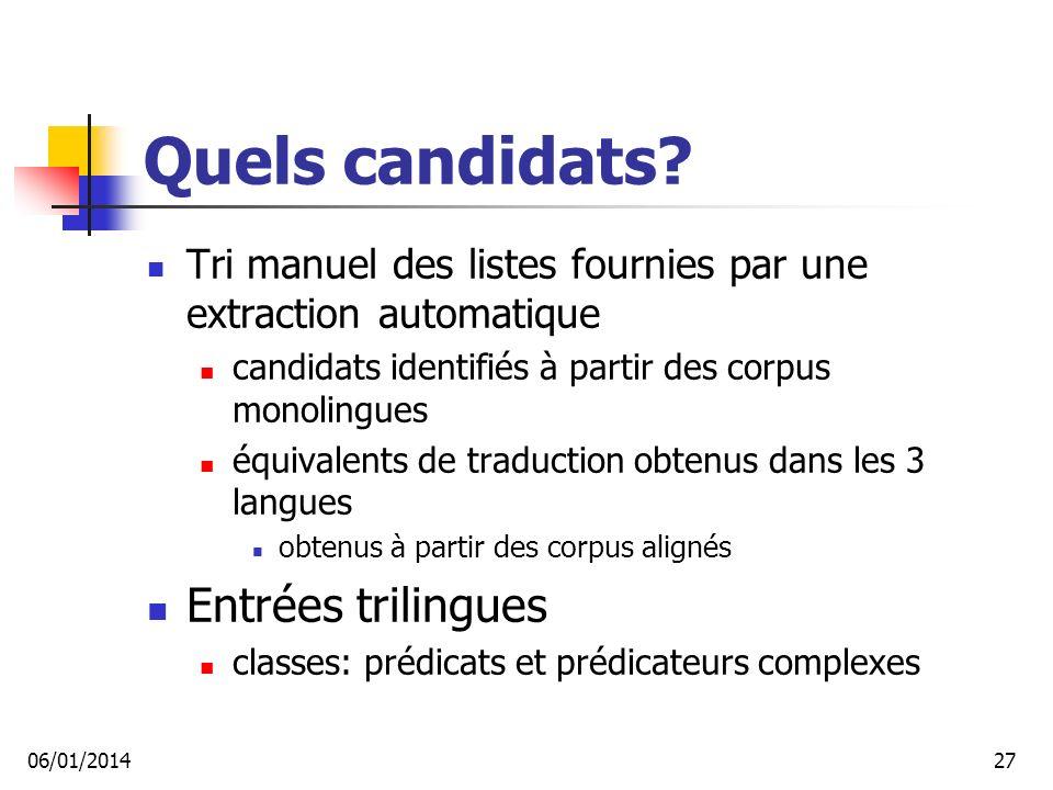 Quels candidats.
