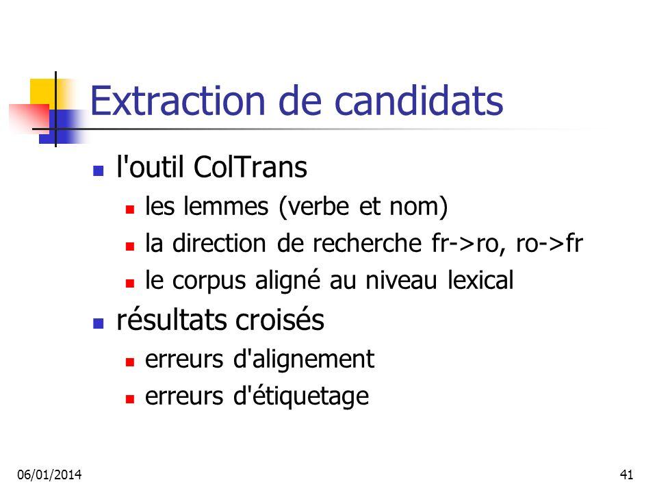 Extraction de candidats l outil ColTrans les lemmes (verbe et nom) la direction de recherche fr->ro, ro->fr le corpus aligné au niveau lexical résultats croisés erreurs d alignement erreurs d étiquetage 06/01/201441