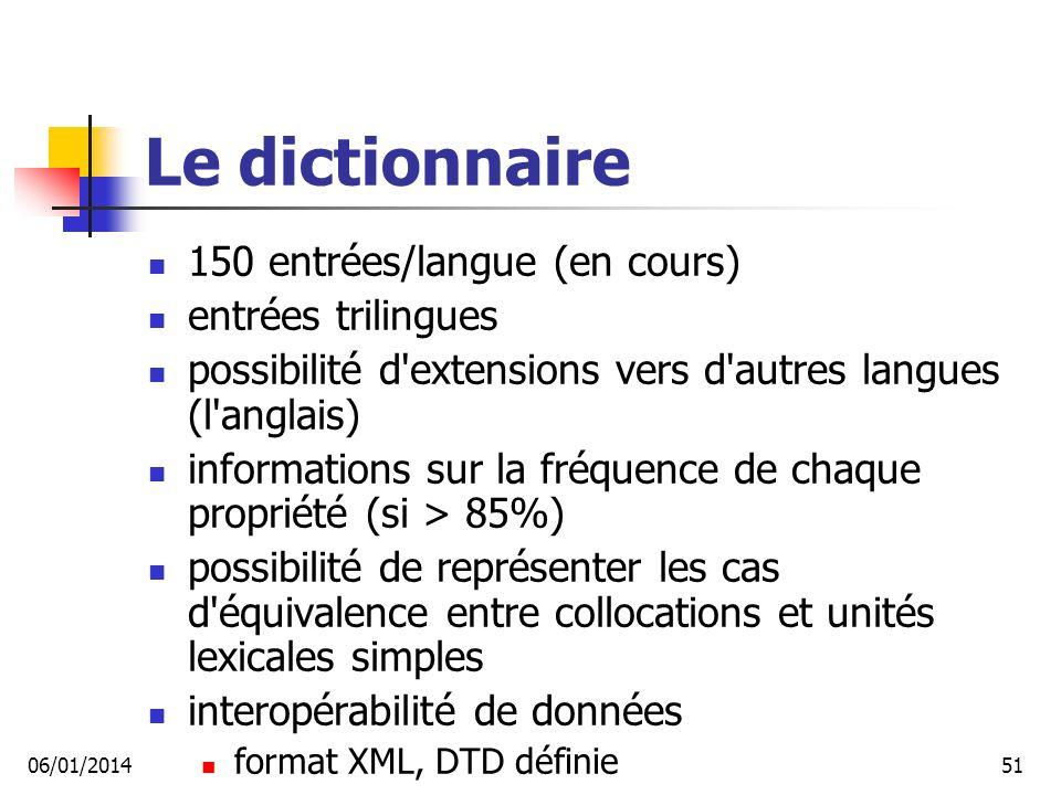 Le dictionnaire 150 entrées/langue (en cours) entrées trilingues possibilité d extensions vers d autres langues (l anglais) informations sur la fréquence de chaque propriété (si > 85%) possibilité de représenter les cas d équivalence entre collocations et unités lexicales simples interopérabilité de données format XML, DTD définie 06/01/201451