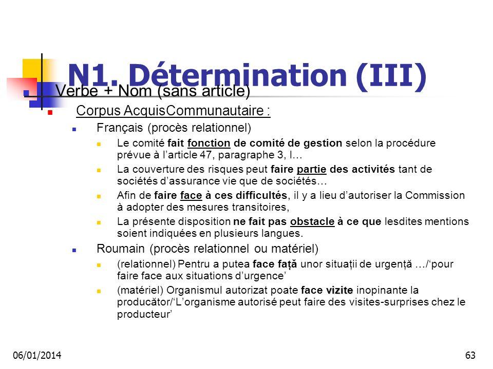 N1. Détermination (III) Verbe + Nom (sans article) Corpus AcquisCommunautaire : Français (procès relationnel) Le comité fait fonction de comité de ges