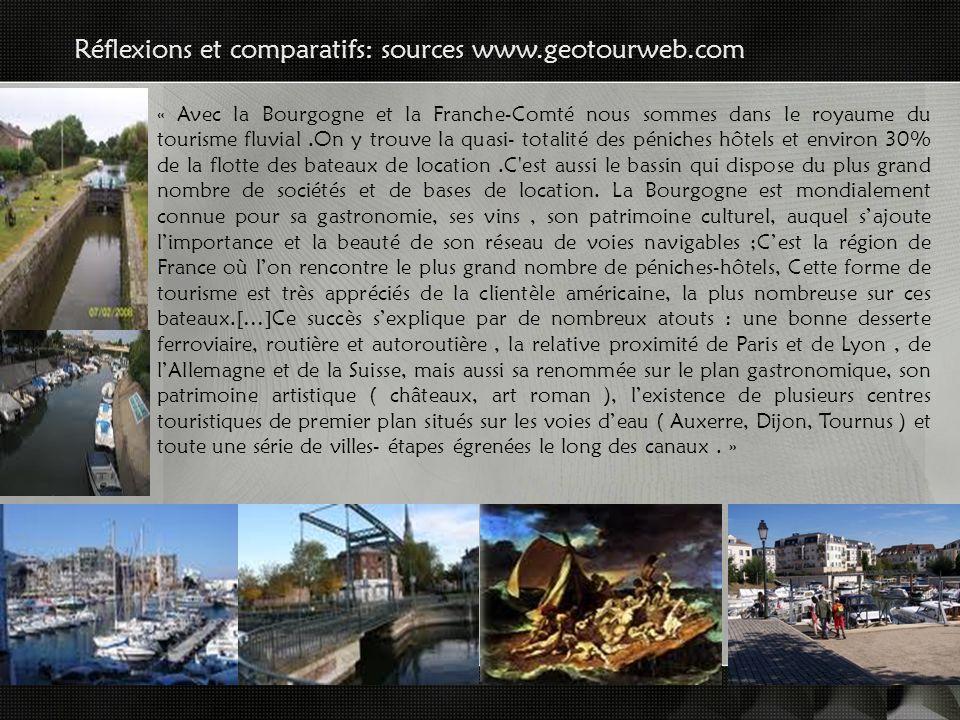 Réflexions et comparatifs: sources www.geotourweb.com « Avec la Bourgogne et la Franche-Comté nous sommes dans le royaume du tourisme fluvial.On y trouve la quasi- totalité des péniches hôtels et environ 30% de la flotte des bateaux de location.C est aussi le bassin qui dispose du plus grand nombre de sociétés et de bases de location.