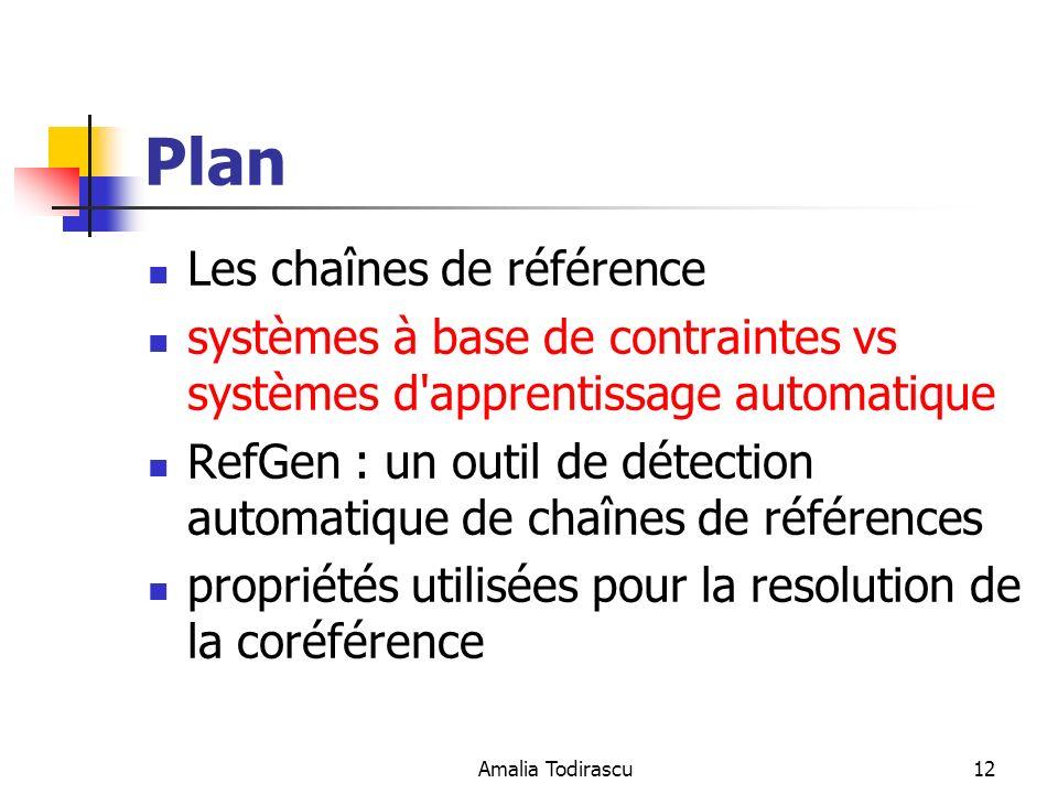 Amalia Todirascu12 Plan Les chaînes de référence systèmes à base de contraintes vs systèmes d'apprentissage automatique RefGen : un outil de détection