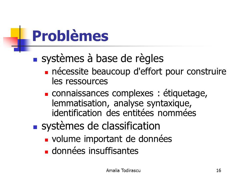 Amalia Todirascu16 Problèmes systèmes à base de règles nécessite beaucoup d'effort pour construire les ressources connaissances complexes : étiquetage