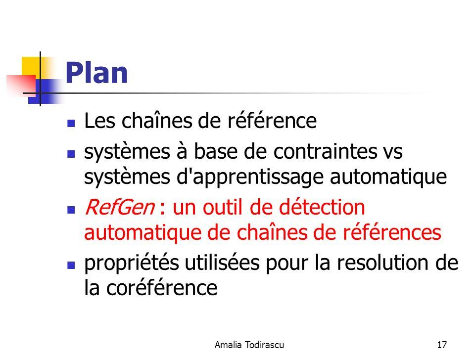 Amalia Todirascu17 Plan Les chaînes de référence systèmes à base de contraintes vs systèmes d'apprentissage automatique RefGen : un outil de détection