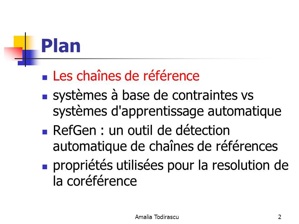 Amalia Todirascu2 Plan Les chaînes de référence systèmes à base de contraintes vs systèmes d'apprentissage automatique RefGen : un outil de détection