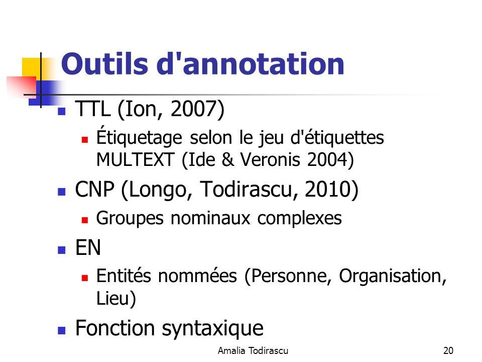 Amalia Todirascu20 Outils d'annotation TTL (Ion, 2007) Étiquetage selon le jeu d'étiquettes MULTEXT (Ide & Veronis 2004) CNP (Longo, Todirascu, 2010)