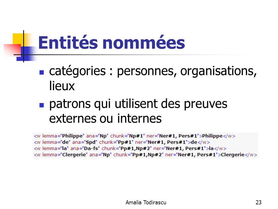 Amalia Todirascu23 Entités nommées catégories : personnes, organisations, lieux patrons qui utilisent des preuves externes ou internes