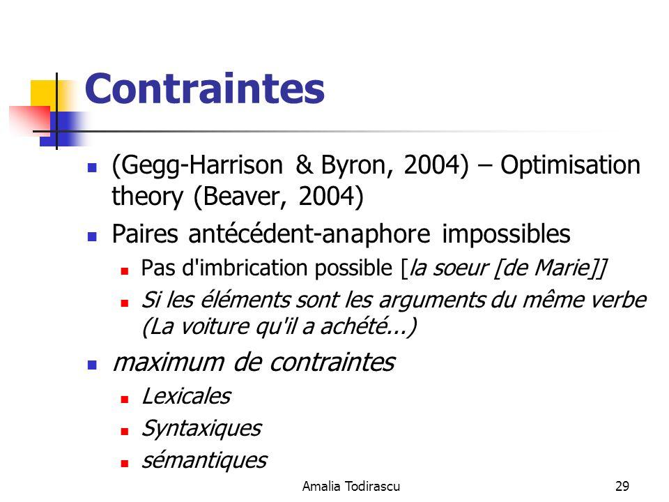 Amalia Todirascu29 Contraintes (Gegg-Harrison & Byron, 2004) – Optimisation theory (Beaver, 2004) Paires antécédent-anaphore impossibles Pas d'imbrica
