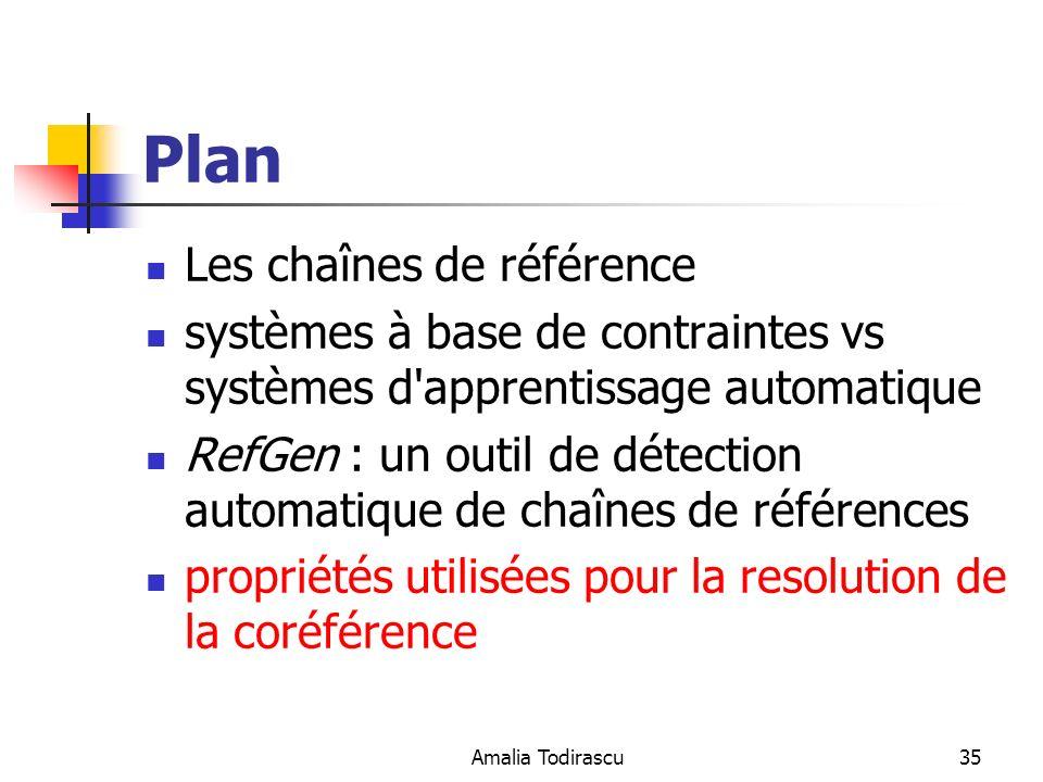 Amalia Todirascu35 Plan Les chaînes de référence systèmes à base de contraintes vs systèmes d'apprentissage automatique RefGen : un outil de détection