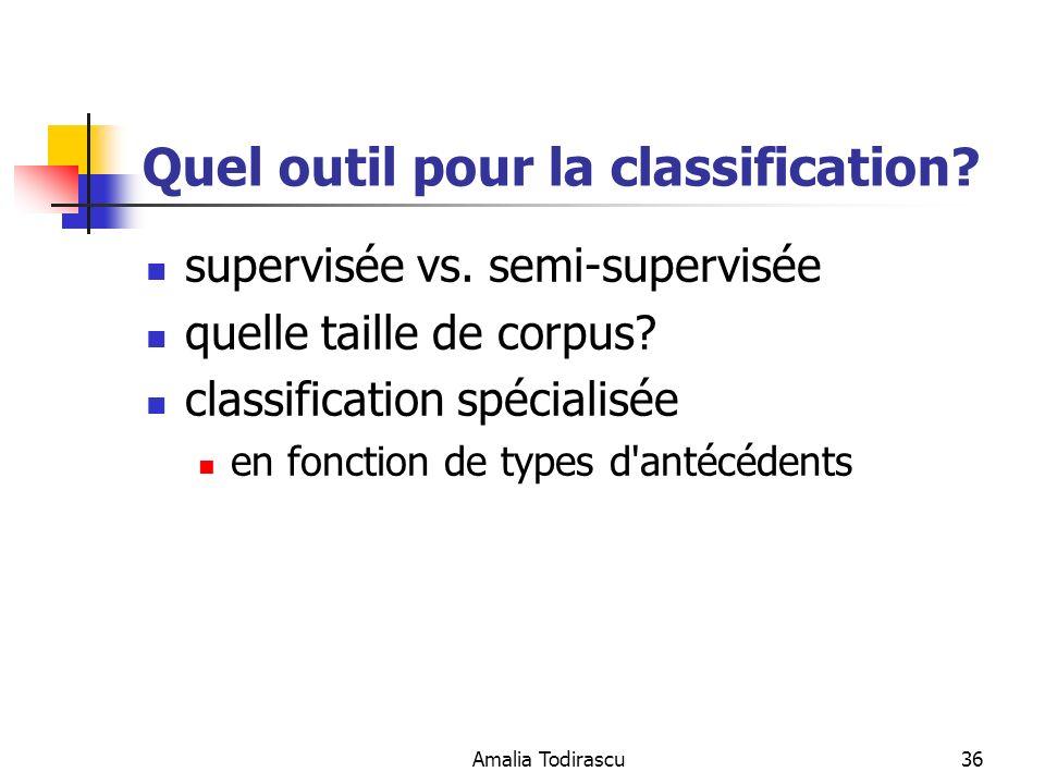 Amalia Todirascu36 Quel outil pour la classification? supervisée vs. semi-supervisée quelle taille de corpus? classification spécialisée en fonction d
