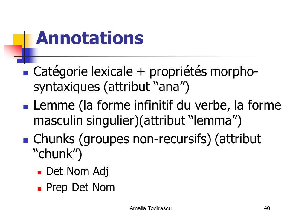 Amalia Todirascu40 Annotations Catégorie lexicale + propriétés morpho- syntaxiques (attribut ana) Lemme (la forme infinitif du verbe, la forme masculi
