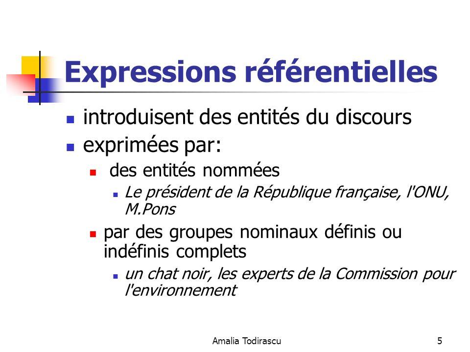 Amalia Todirascu26 Calcul de la référence algorithme didentification des chaînes de référence