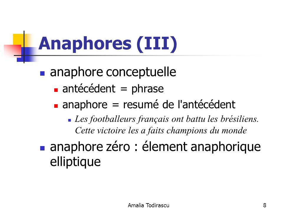 Amalia Todirascu8 Anaphores (III) anaphore conceptuelle antécédent = phrase anaphore = resumé de l'antécédent Les footballeurs français ont battu les