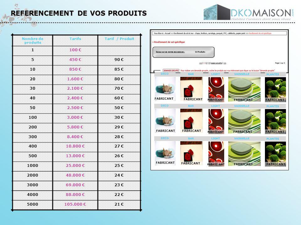 REFERENCEMENT DE VOS PRODUITS Nombre de produits TarifsTarif / Produit 1100 5450 90 10850 85 201.600 80 302.100 70 402.400 60 502.500 50 1003.000 30 2005.800 29 3008.400 28 40010.800 27 50013.000 26 100025.000 25 200048.000 24 300069.000 23 400088.000 22 5000105.000 21 DECO BARLIGHT VAISSELLE PLANTES DECO BARLIGHT VAISSELLE PLANTES DECO BARLIGHT VAISSELLE PLANTES FABRICANT