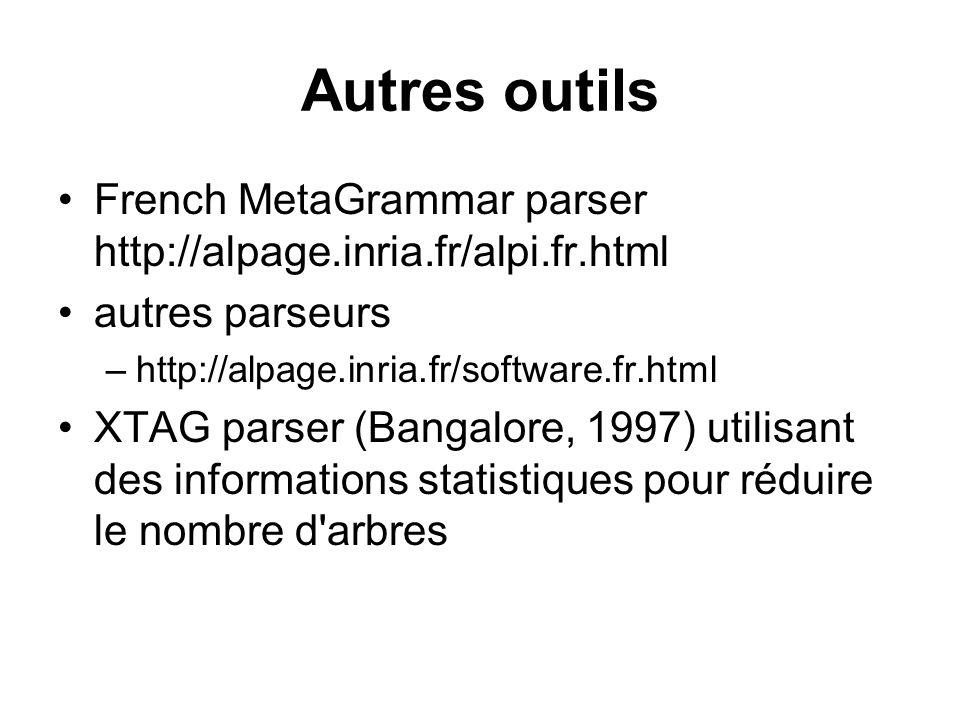 Autres outils French MetaGrammar parser http://alpage.inria.fr/alpi.fr.html autres parseurs –http://alpage.inria.fr/software.fr.html XTAG parser (Bang