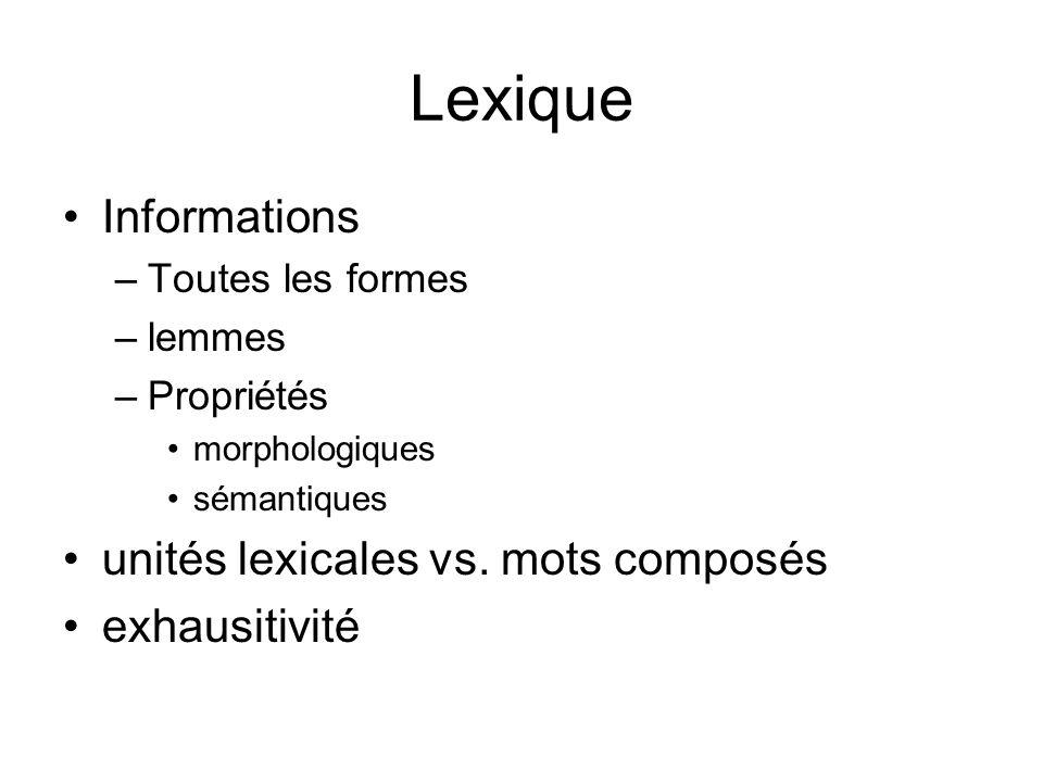 Exemples de lexiques Sur le CNRTL (Centre national de ressources textuelles et lexicales) http://www.cnrtl.fr/lexiques/ http://www.cnrtl.fr/lexiques/ Morphalou –400000 formes fléchies –Format XML –Propriétés mophologiques et lemmes Prolex : un lexique de noms propres