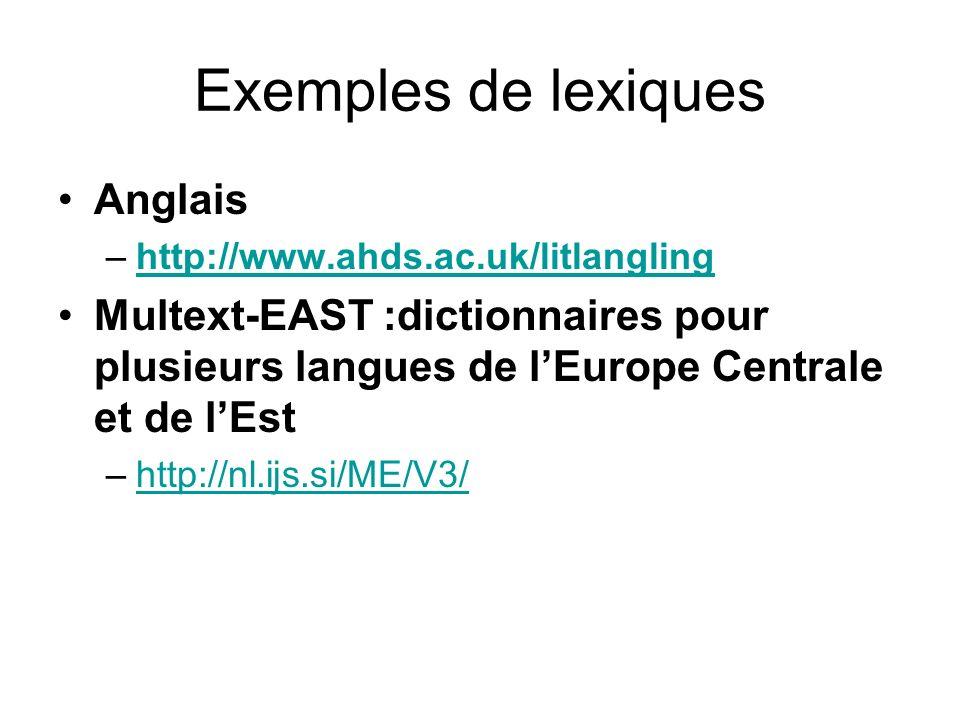 Exemples de lexiques Anglais –http://www.ahds.ac.uk/litlangling http://www.ahds.ac.uk/litlangling Multext-EAST :dictionnaires pour plusieurs langues d