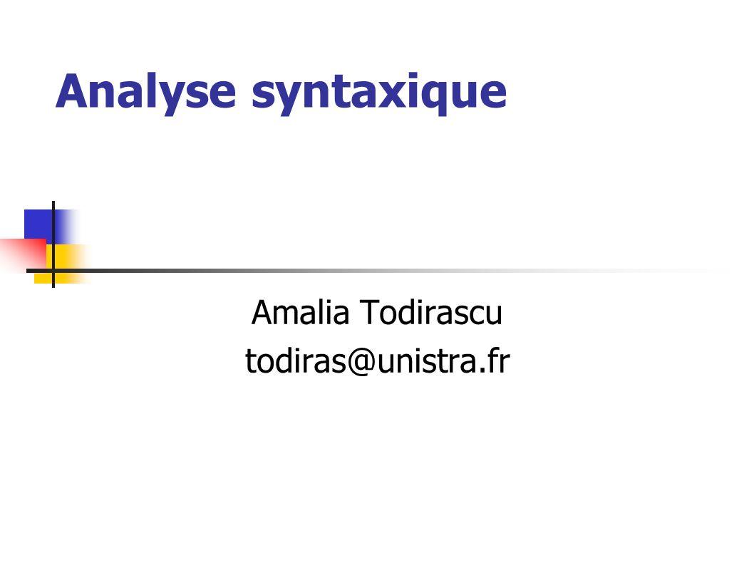 Analyse syntaxique Amalia Todirascu todiras@unistra.fr