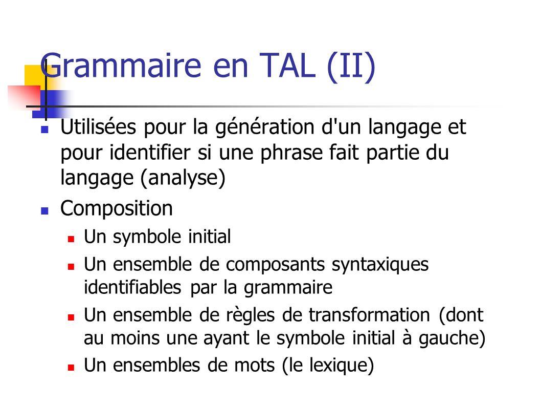 Grammaire en TAL (II) Utilisées pour la génération d'un langage et pour identifier si une phrase fait partie du langage (analyse) Composition Un symbo