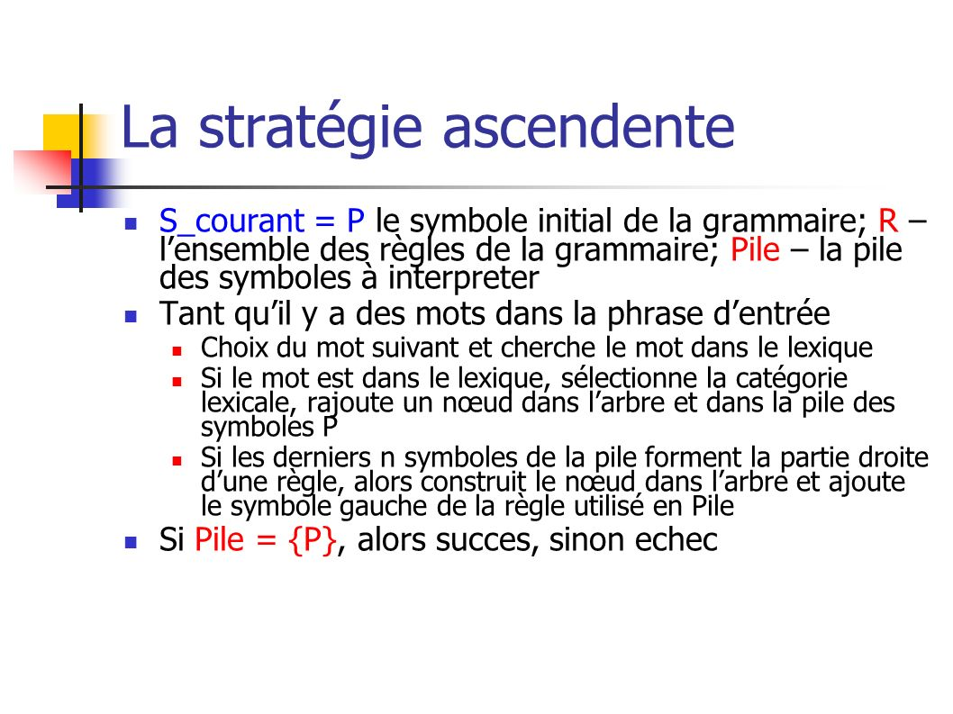 La stratégie ascendente S_courant = P le symbole initial de la grammaire; R – lensemble des règles de la grammaire; Pile – la pile des symboles à inte