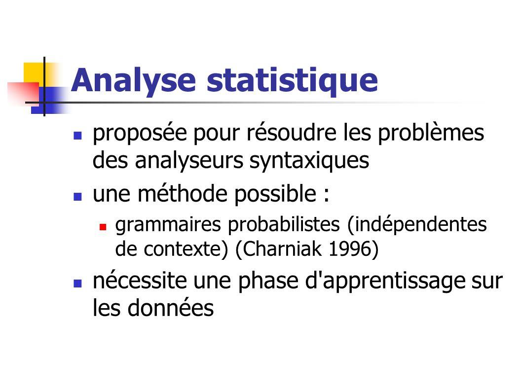 Analyse statistique proposée pour résoudre les problèmes des analyseurs syntaxiques une méthode possible : grammaires probabilistes (indépendentes de