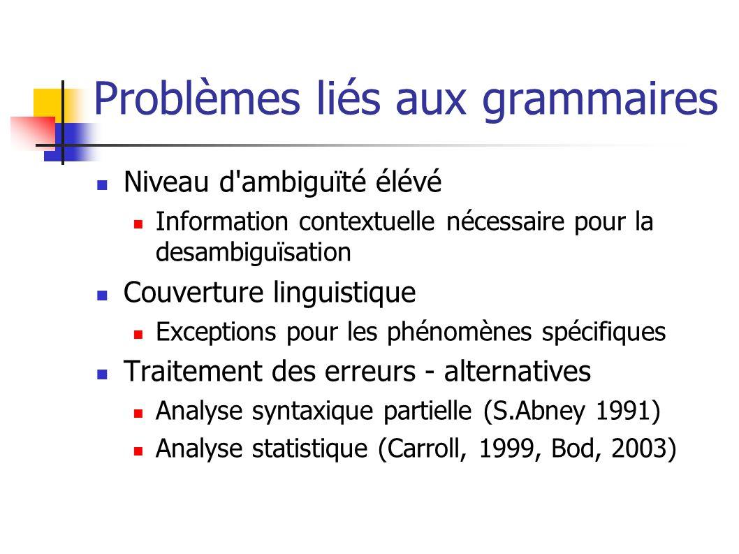 Problèmes liés aux grammaires Niveau d'ambiguïté élévé Information contextuelle nécessaire pour la desambiguïsation Couverture linguistique Exceptions