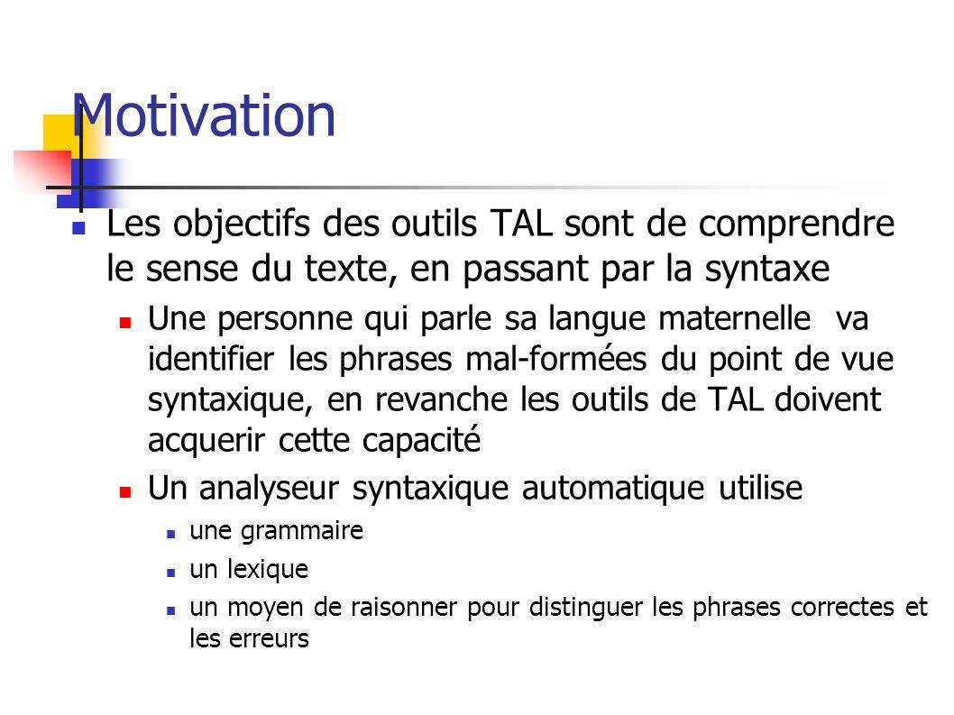 Motivation Les objectifs des outils TAL sont de comprendre le sense du texte, en passant par la syntaxe Une personne qui parle sa langue maternelle va