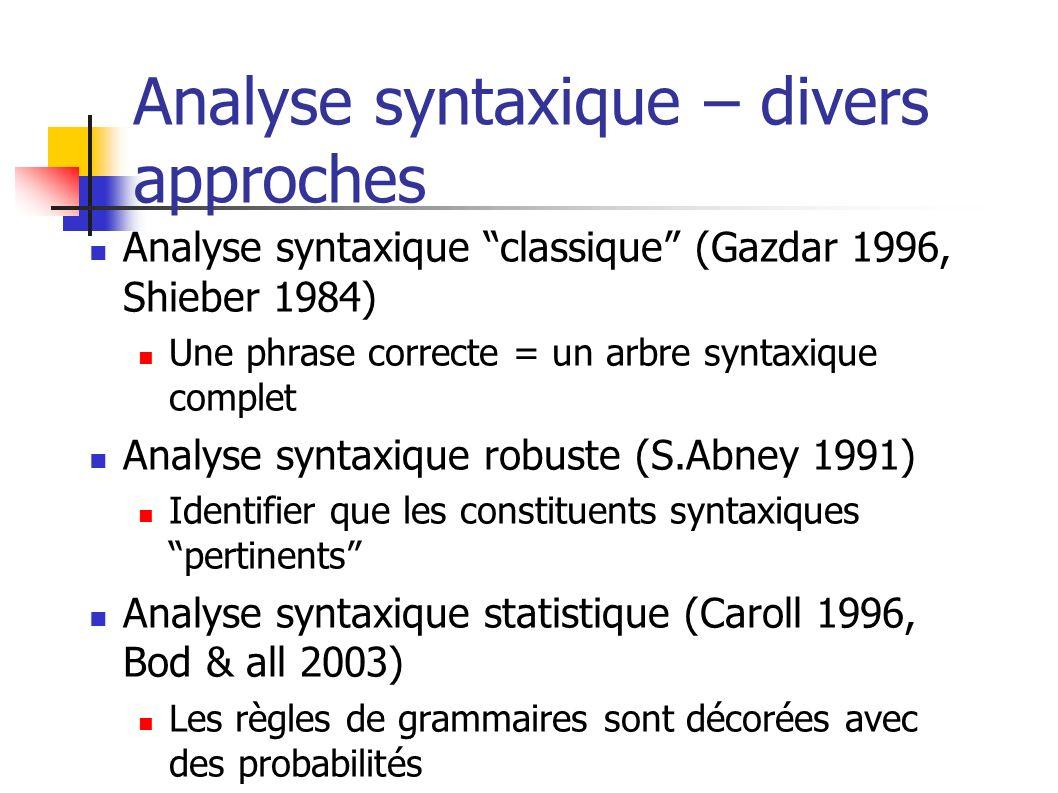 Analyse syntaxique – divers approches Analyse syntaxique classique (Gazdar 1996, Shieber 1984) Une phrase correcte = un arbre syntaxique complet Analy
