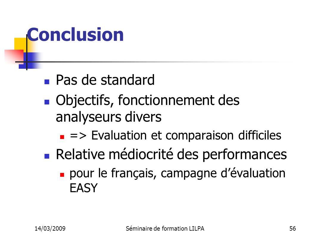 14/03/2009Séminaire de formation LILPA56 Conclusion Pas de standard Objectifs, fonctionnement des analyseurs divers => Evaluation et comparaison diffi