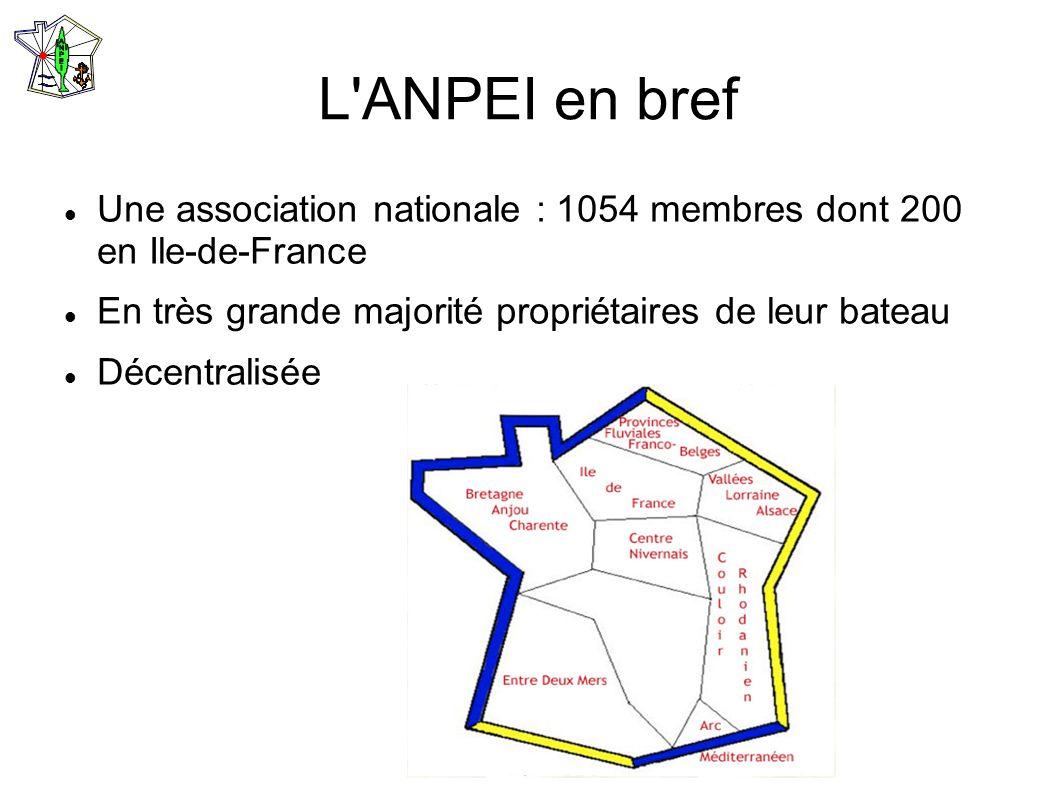 L'ANPEI en bref Une association nationale : 1054 membres dont 200 en Ile-de-France En très grande majorité propriétaires de leur bateau Décentralisée