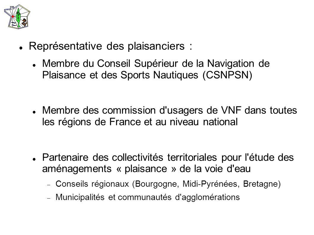 Représentative des plaisanciers : Membre du Conseil Supérieur de la Navigation de Plaisance et des Sports Nautiques (CSNPSN) Membre des commission d'u