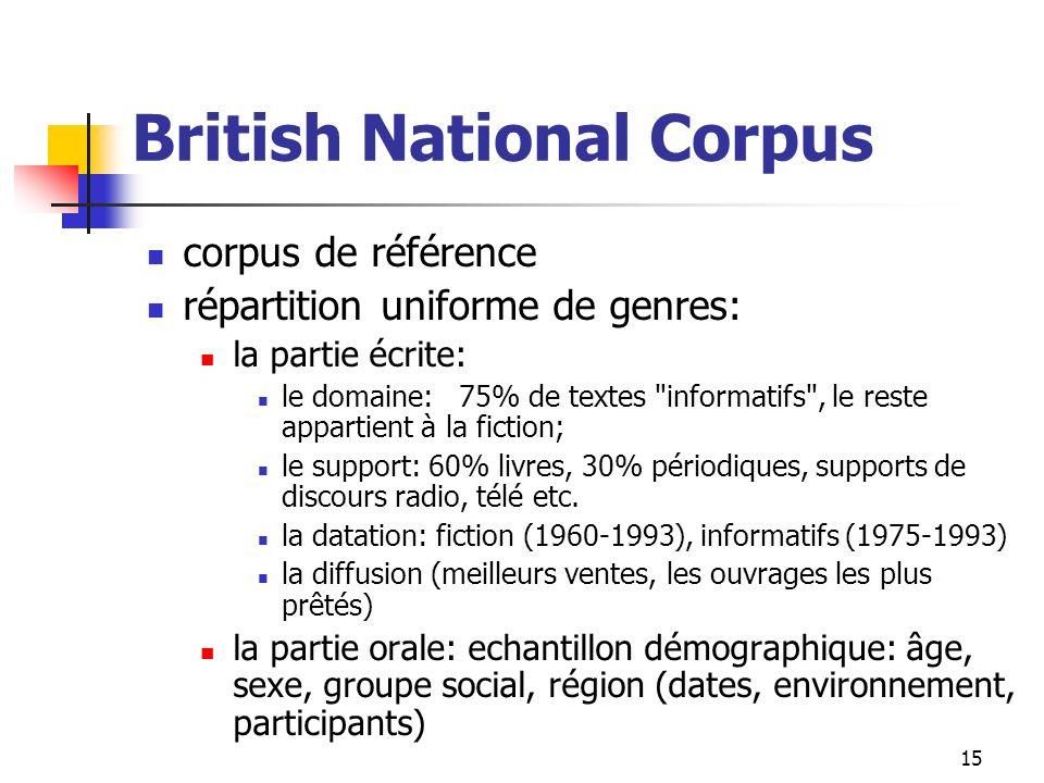 15 British National Corpus corpus de référence répartition uniforme de genres: la partie écrite: le domaine: 75% de textes
