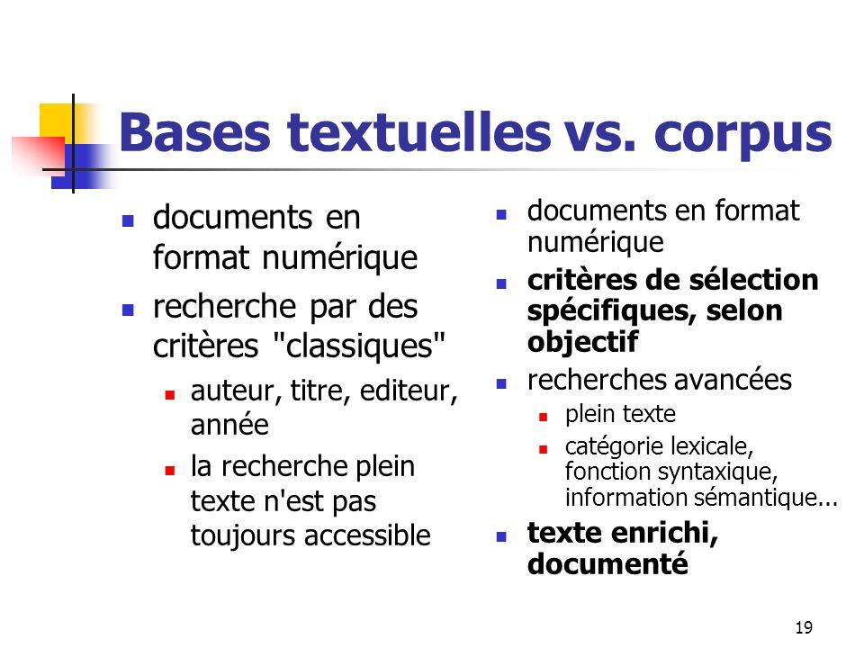 19 Bases textuelles vs. corpus documents en format numérique recherche par des critères