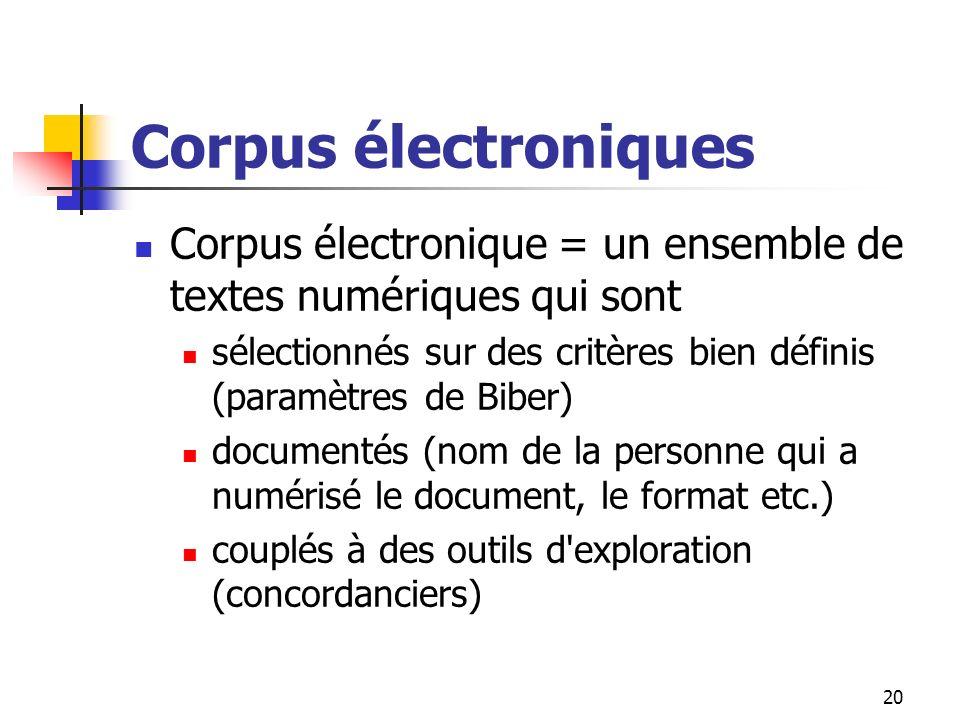 20 Corpus électroniques Corpus électronique = un ensemble de textes numériques qui sont sélectionnés sur des critères bien définis (paramètres de Bibe