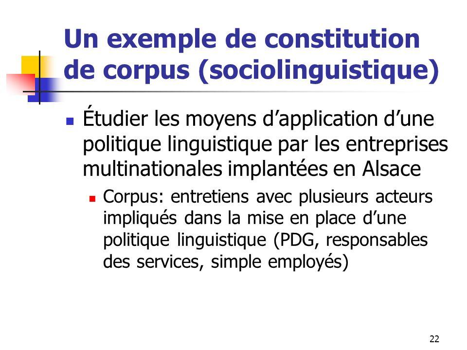 22 Un exemple de constitution de corpus (sociolinguistique) Étudier les moyens dapplication dune politique linguistique par les entreprises multinatio