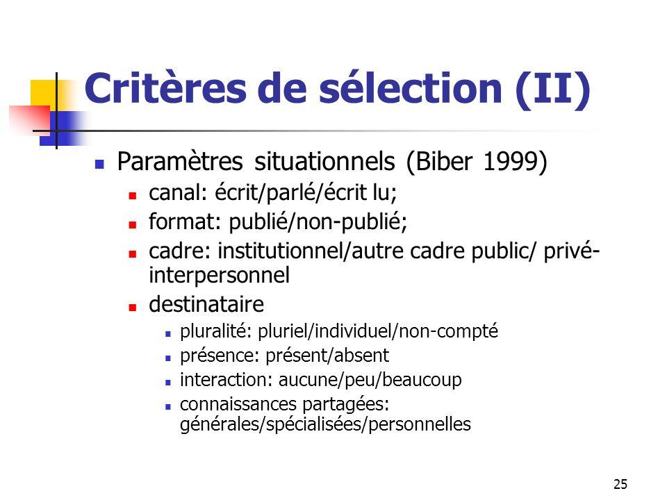 25 Critères de sélection (II) Paramètres situationnels (Biber 1999) canal: écrit/parlé/écrit lu; format: publié/non-publié; cadre: institutionnel/autr