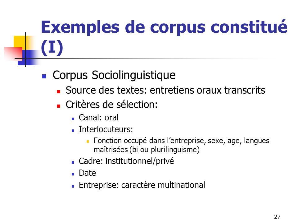 27 Exemples de corpus constitué (I) Corpus Sociolinguistique Source des textes: entretiens oraux transcrits Critères de sélection: Canal: oral Interlo